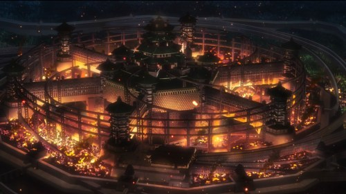 The shogun's city burns as Kabane rule the streets. Capture from the Amazon Prime video stream.