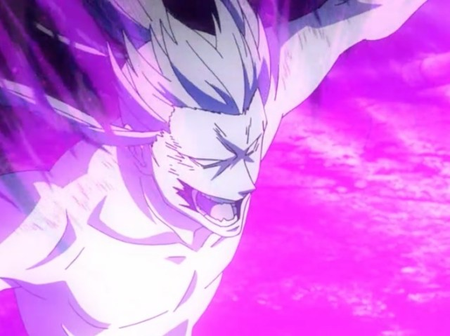 Alma Karma's attacks take a toll on Kanda -- but nowhere near the toll the failures of his leadership extracted. Capture from the Funimation stream.