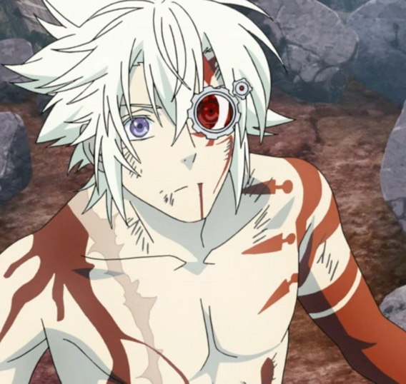 Allen's eye, freed from the Earl's barrier, comes back to life -- and shows Allen a fact that's almost too painful to bear. Capture from the Funimation stream.