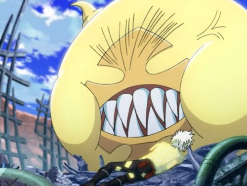Timcanpy in Huge Form protected Allen! Apparently good dental hygiene, too! Capture from the Funimation stream.