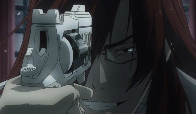 Allen sees Cross Marian's death in the memories of the Cardinal. Capture from the Crunchyroll -- yes, Crunchyroll! -- stream.