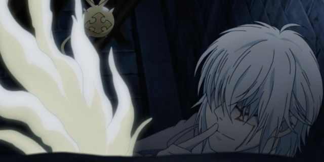 Though almost overcome by the Fourteenth's attempts to take possession of his body, and though Apocryphos' power had almost destroyed him, Allen was still kind to the little girl who wondered if he was an angel. Capture from the Funimation stream.