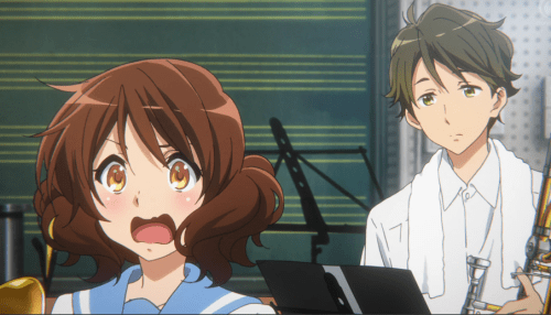 Kumiko's as twitch as ever -- and she make the most adorable sound when she's surprised! Capture from the Crunchyroll stream.