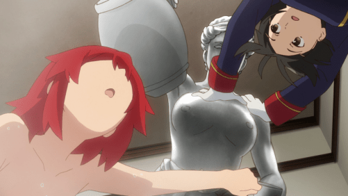 Izetta raises doubts about her power when she can't block a killer vase from smacking her in the head. Capture from the Crunchyroll stream.