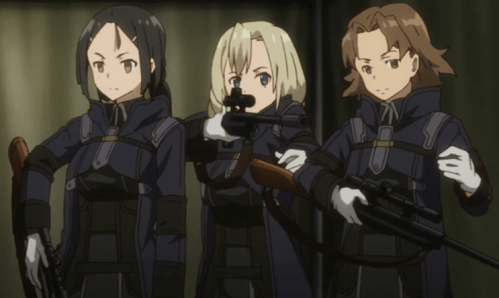 This is reasonable combat attire (adding a helmet would be even better). Izetta's outfit? Not so much... Capture from the Crunchyroll stream.