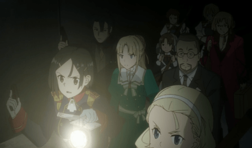Bianca and the Imperial Guard lead Finé and her inner circle through a secret passage. Capture from the Crunchyroll stream.