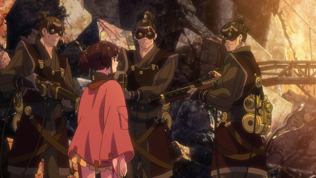 Kabaneri of the Iron Fortress Episode 9: Biba's guards drew their weapons against Mumei.