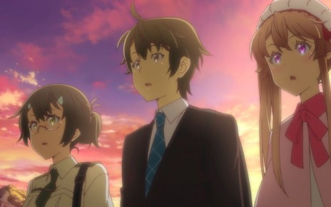 Outbreak Company Ep 11: Minori, Shinichi, and Myucel saw a father and son argue over manga