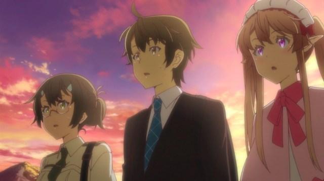 Outbreak Company Ep 11: Minori, Shinichi, and Myucel saw a father and son argue over manga