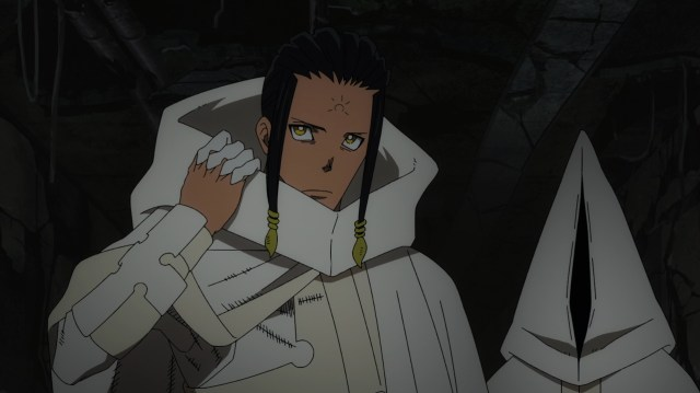 Fire Force Season 2 Ep 21: Nameless White Clad seconds before his attitude adjustment