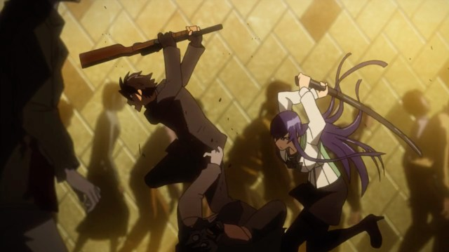 High School of the Dead Episode 8: Saeko decided she would not let Takashi die alone