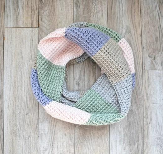 tunisian crochet colorblock scarf pattern