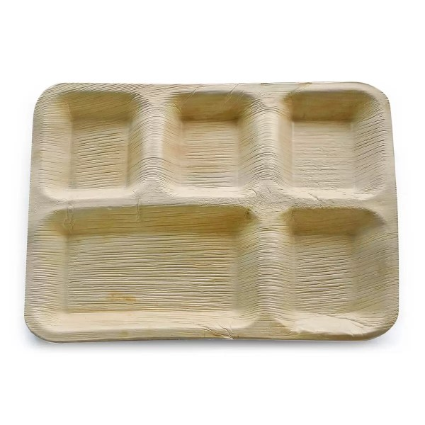 12 x 10 areca plate with 5 compartments
