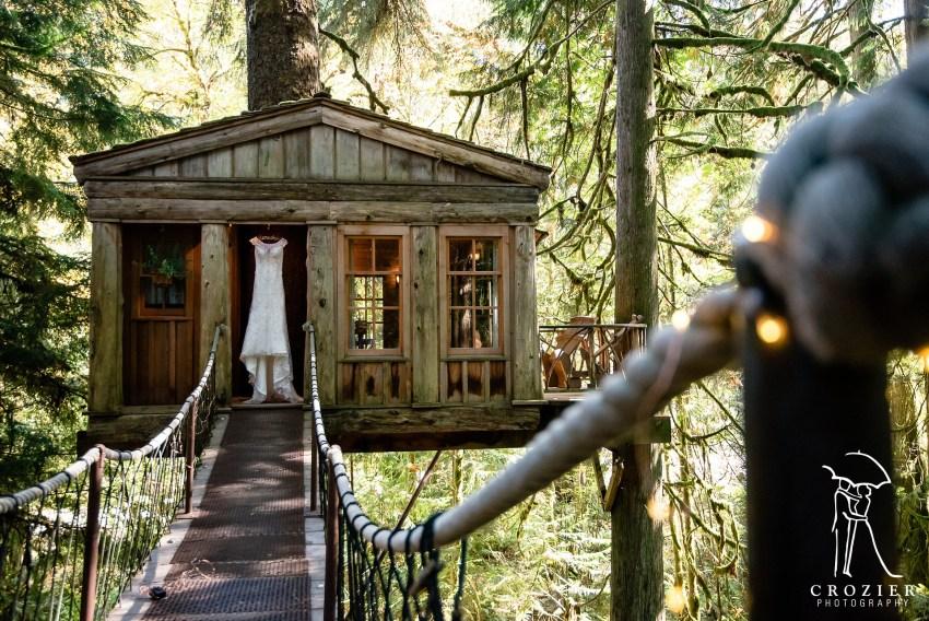 dress hanging in treehouse door