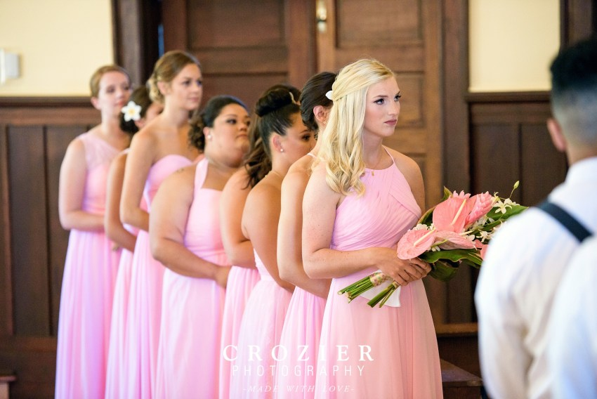 bridesmaids with Hawaiian flowers