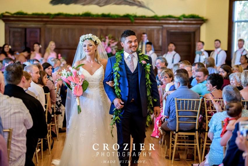 bride with Hawaiian flowers