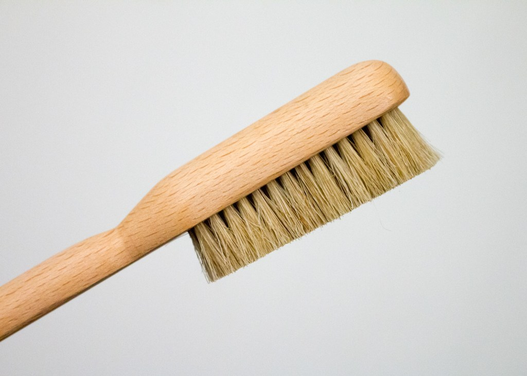 Boar hair bristles on climbing brush