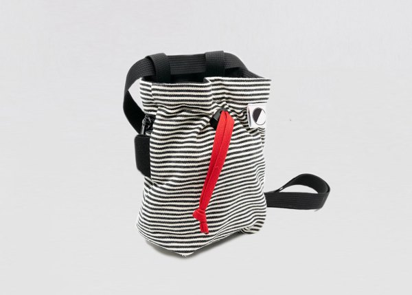 black and white striped climbing chalk bag