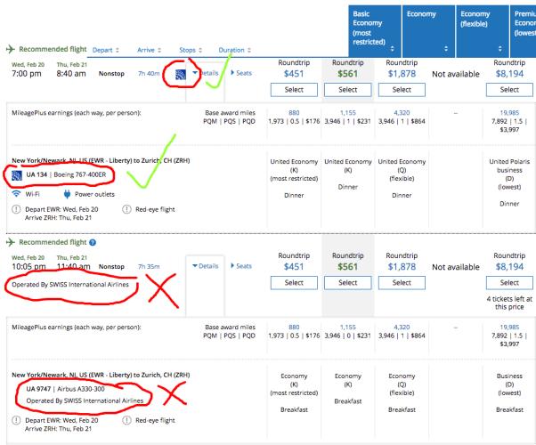 Example United flight schedule