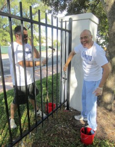 Friend of Cruise Currents and Director of Sales Operations for North America, Silvio Alonso (left), along with Business Development Manager, Joe Docal (right), can be seen painting the North Shore Park fence on Collins Avenue.