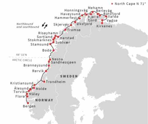 Route van Hurtigruten