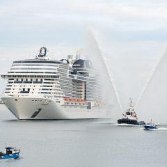 MSC Meraviglia llega a Barcelona, su puerto base, por primera vez