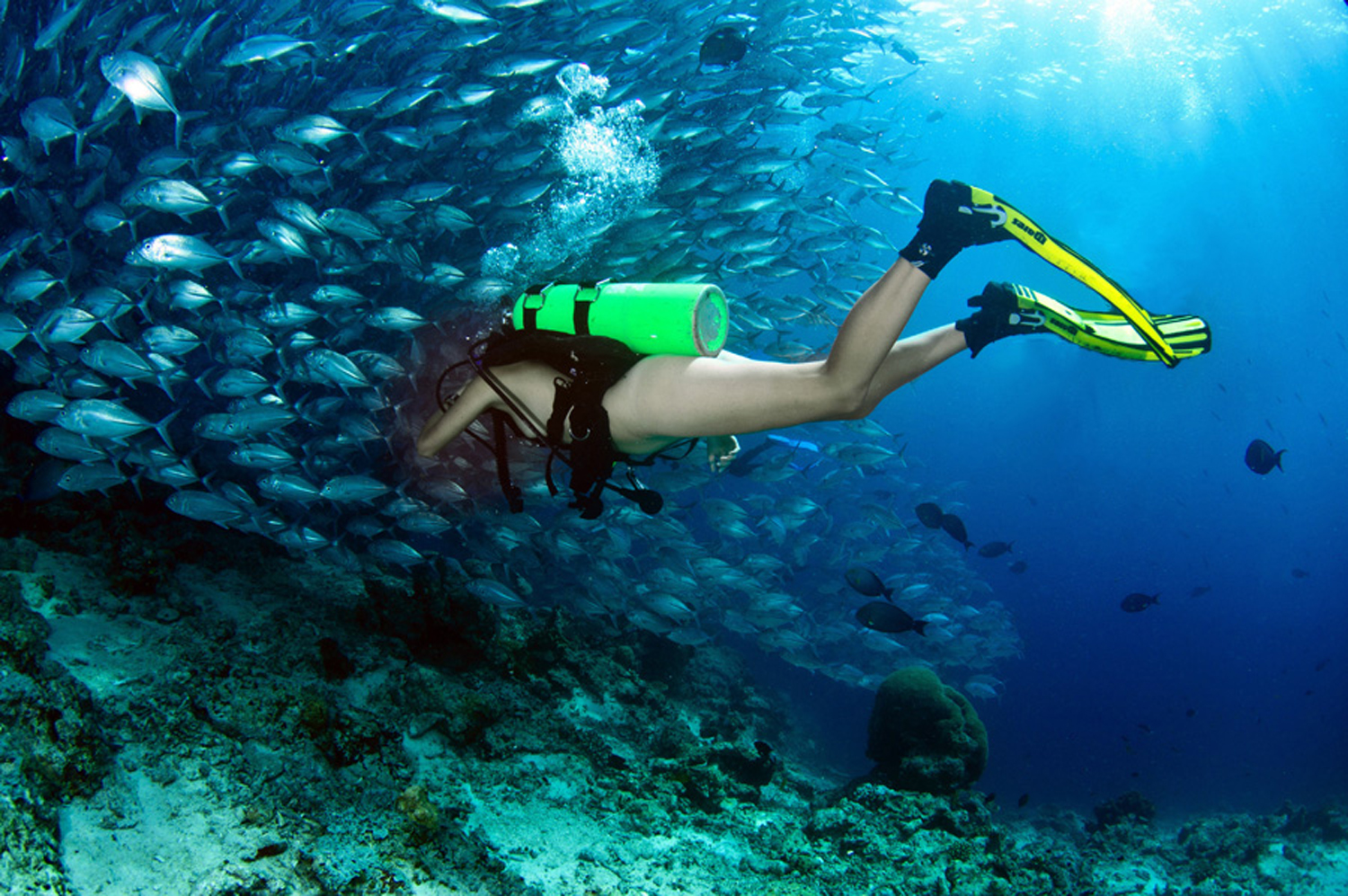 Scuba diving naked...not recommended