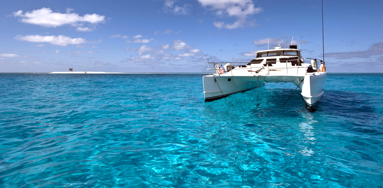 Anchored behind Flinders Reefs Main Sand Cay