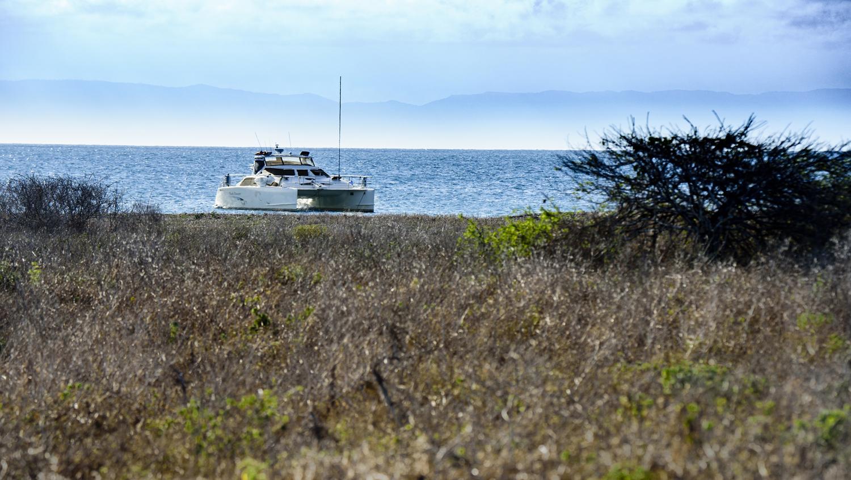 Anchored behind Pelican Island.