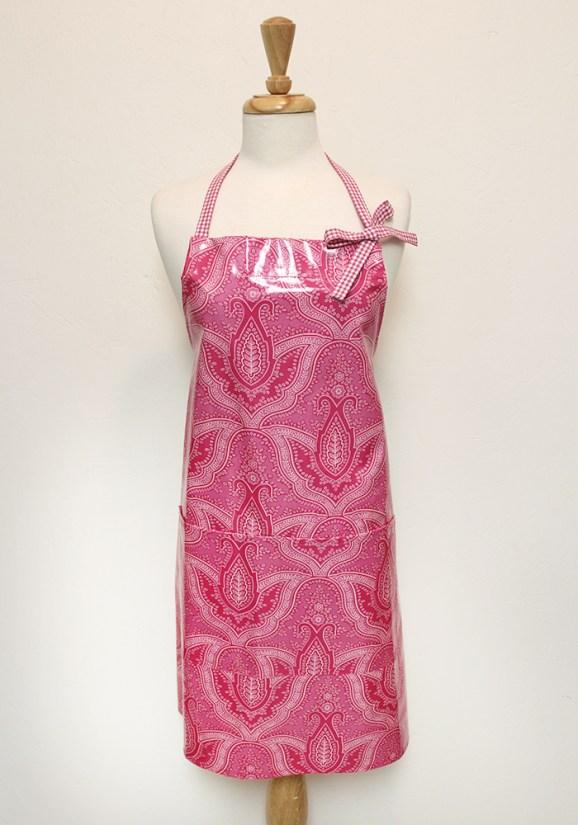 Audrey Apron in Pink Paisley Cotton Laminate