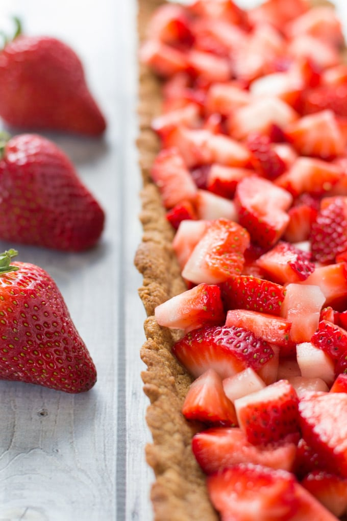 Almond Butter Strawberry Shortcake Tart with Coconut Cream