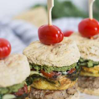 Sausage, Egg and Pesto Breakfast Sandwiches