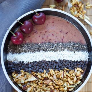 Coconut Banana Cherry Chip Smoothie Bowl
