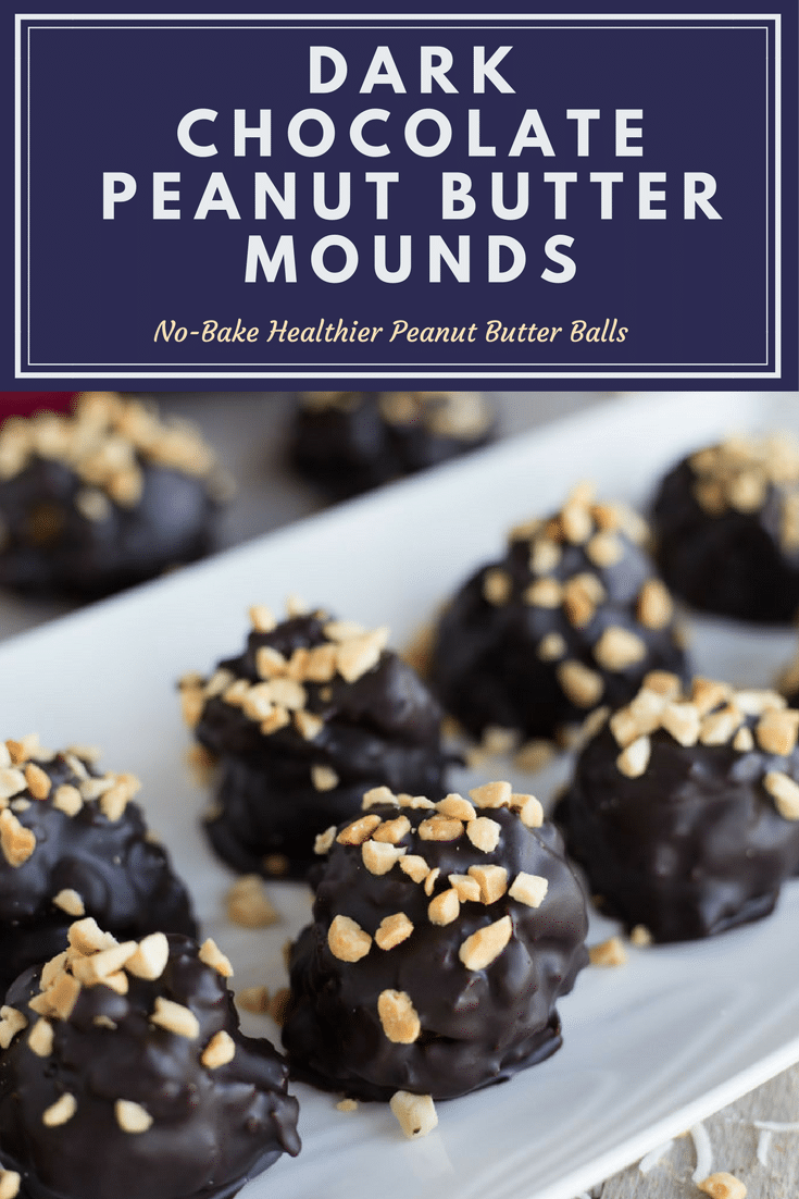 Pinterest image for Dark Chocolate Peanut Butter Mounds.