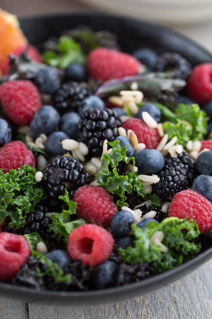 Up-close view of Berry Citrus Kale Salad.