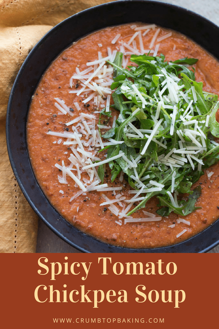 Pinterest image for Spicy Tomato Chickpea Soup.
