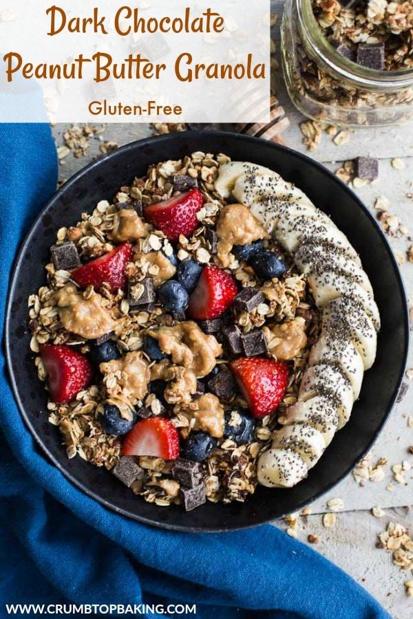 Pinterest image for Dark Chocolate Peanut Butter Granola.