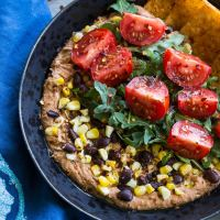Roasted Red Pepper and Black Bean Hummus Bowls