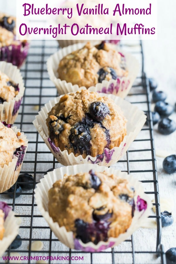 Pinterest image for Blueberry Vanilla Almond Overnight Oatmeal Muffins.