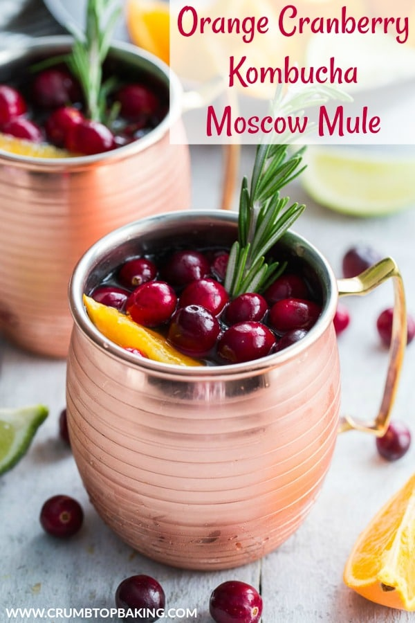 Pinterest image for Orange Cranberry Kombucha Moscow Mule.