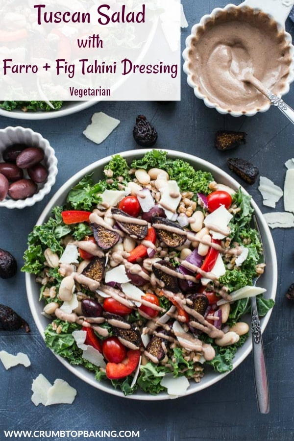 Pinterest image for Tuscan Salad with Farro and Fig Tahini Dressing.