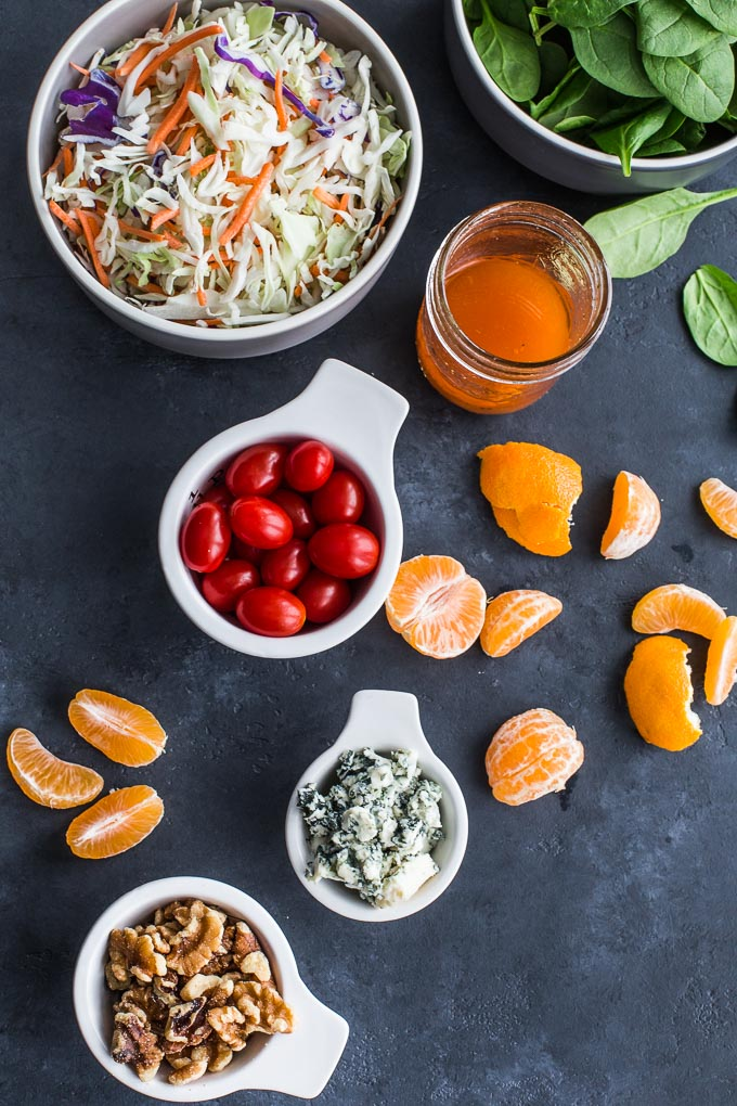 Overhead view of ingredients to make Winter Citrus Crunch Salad.