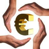hands around euro sign
