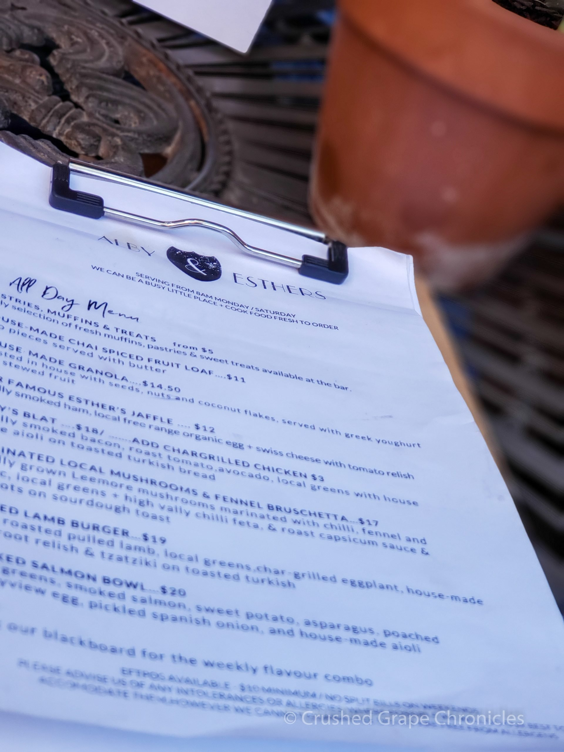 The breakfast menu at Alby + Esthers