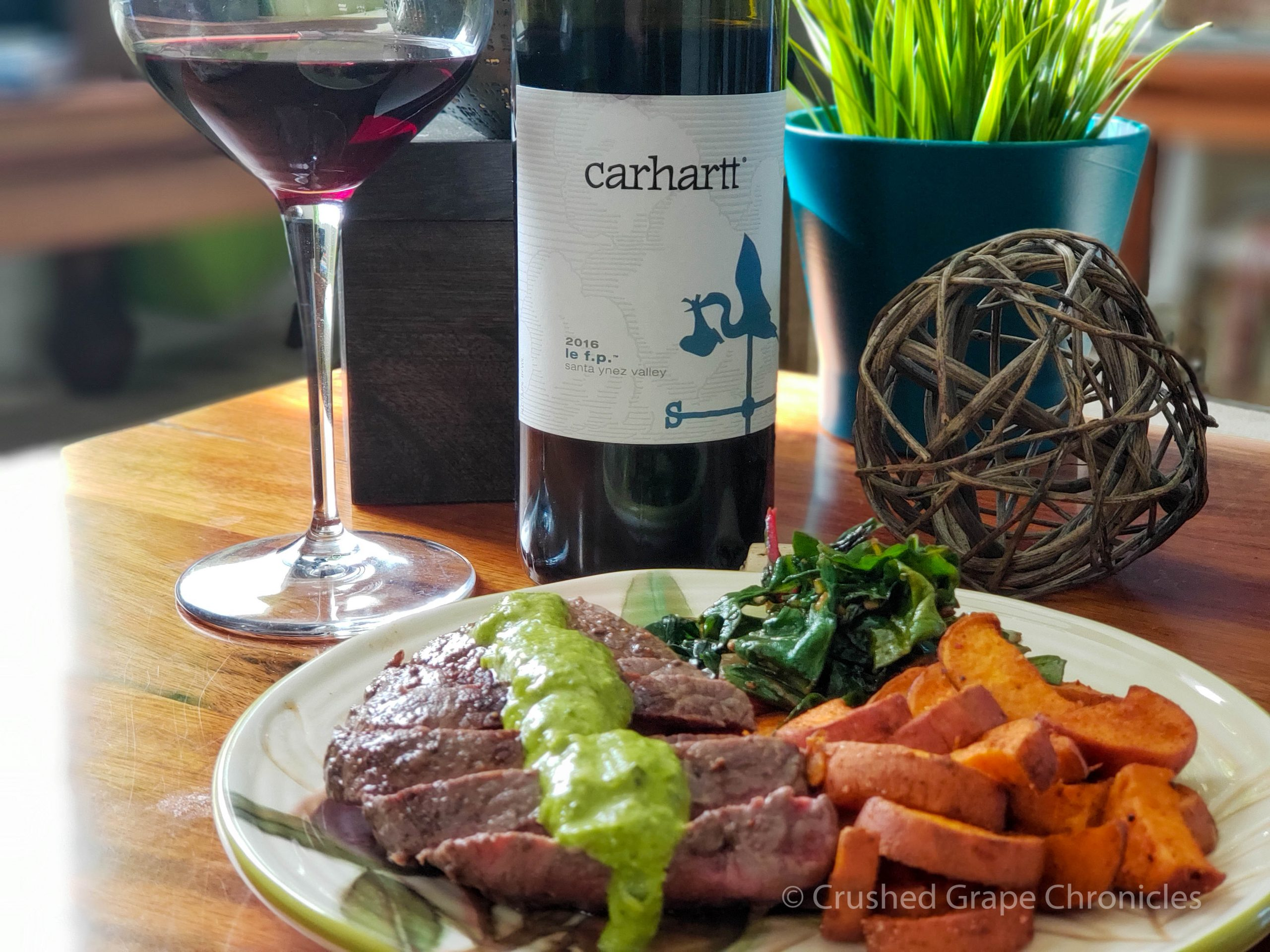 Carhartt Vineyards le f.p. 2016 (previously four play) with steaks, chimichurri, roasted sweet potatoes and greens