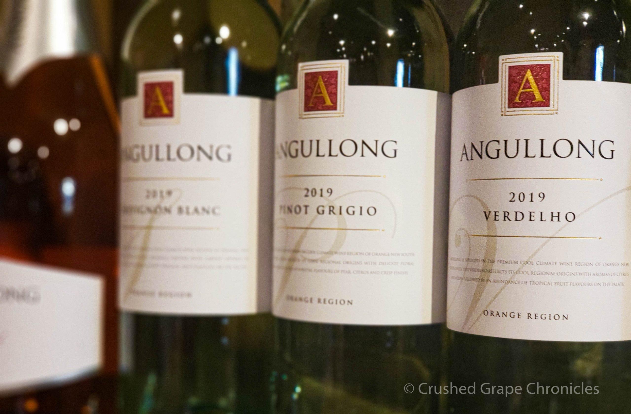 Angullong 2019 Verdelho and 2019 Pinot Grigio and 2019 Savignon Blanc at Angullong Vineyard in Cellar Door in Millthorpe, Orange NSW