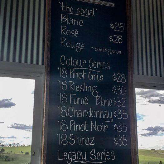 Nashdale Lane Cellar door wine list in Orange NSW Australia