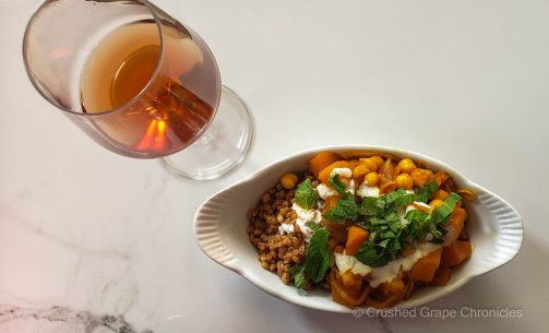 AD Beckham 2016 Amphorae Pinot Gris and Afghan butternut squash stew