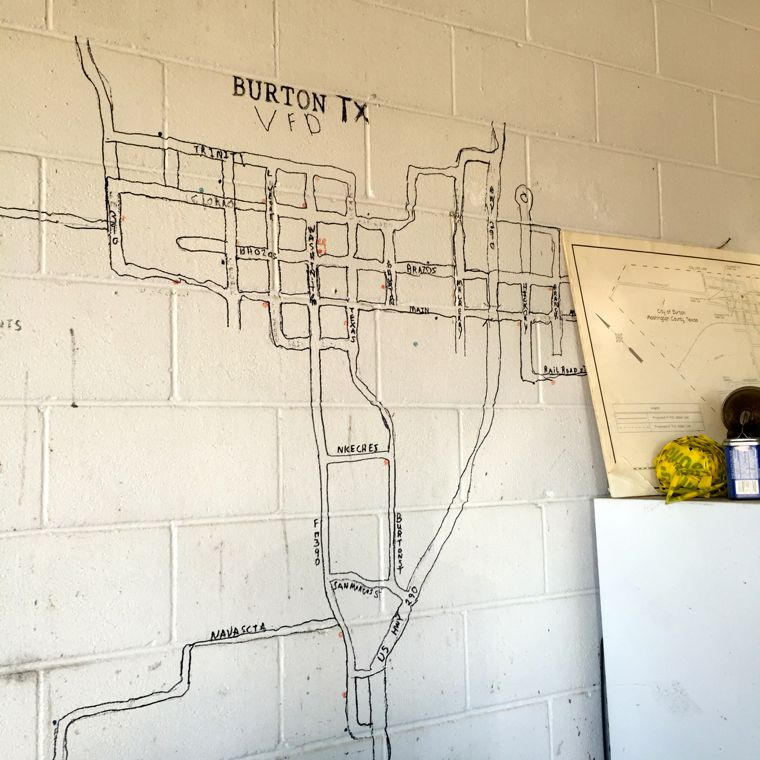 Burton. TX: Map on the wall.