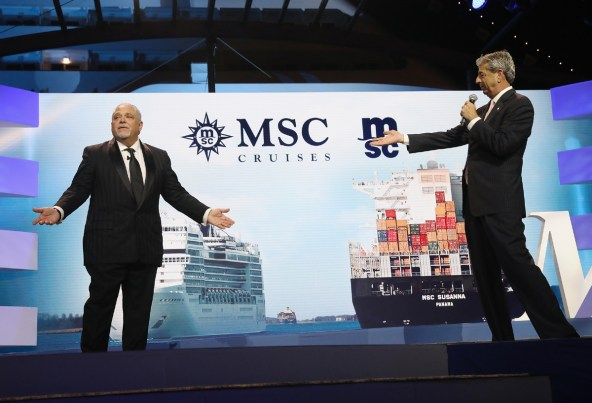 MIAMI, FL - DECEMBER 21: Executive Vice President of MSC Mediterranean Shipping Company USA, Allen Clifford and MSC Cruises USA Chairman, Rick Sasso on December 21, 2017 in Miami, Florida. (Photo by Aaron Davidson/Getty Images for MSC Cruises) *** Local Caption *** Allen Clifford; Rick Sasso